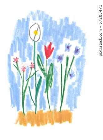 用彩色鉛筆繪製的花朵 67203471
