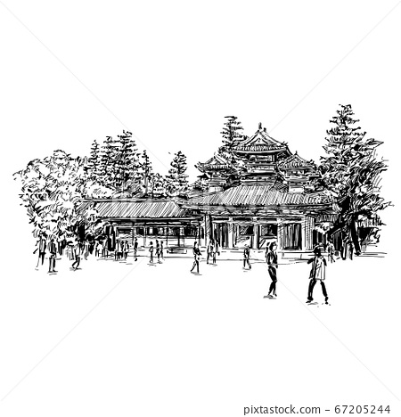 Drawing of the temple in Kyoto  67205244
