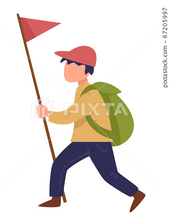 Scout walking with red flag on pole, traveling boy 67205997