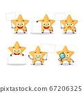 Yellow starfish cartoon character bring information board 67206325