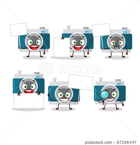 camera pocket cartoon with character bring information board 67206347