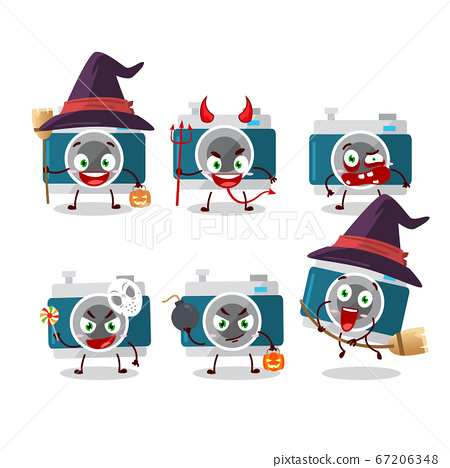 Halloween expression emoticons with cartoon character of camera pocket 67206348
