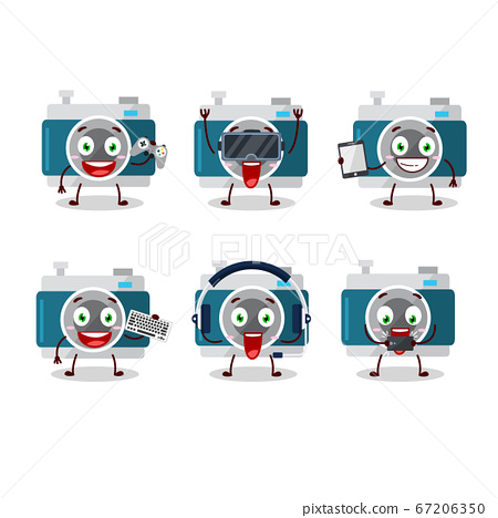 camera pocket cartoon character are playing games with various cute emoticons 67206350