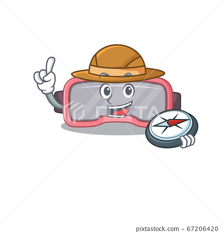 VR glasses mascot design style of explorer using a compass during the journey 67206420