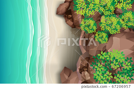 top view of rock cave on the beach 67206957