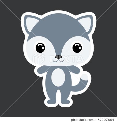 Children's sticker of cute little wolf.  67207864