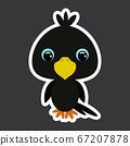 Children's sticker of cute little raven.  67207878