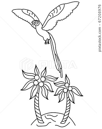 A colorful macaw parrot flies over an island with palm trees. Black and white vector illustration in cartoon style. Circuit 67208976