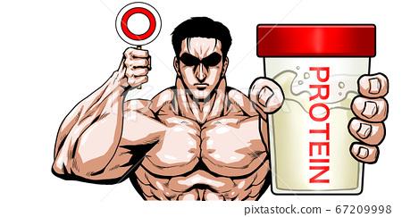 蛋白質,很好,還可以,丸,許,精選,吉加,卡通,肌肉,健美,猛男,擺姿勢, 67209998