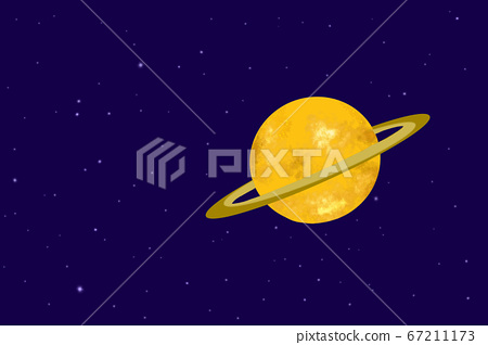 Shiny Saturn illustration on orbit in the solar system with its beautiful ring 67211173