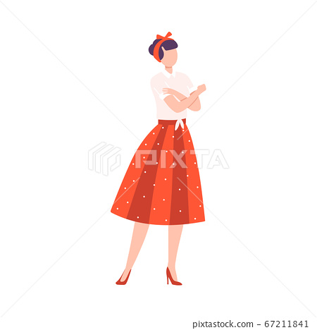 Young Woman in Retro Dress Crossing her Arms Saying No, Feminism, Freedom, Protest, Female Power and Rights Concept Flat Style Vector Illustration 67211841