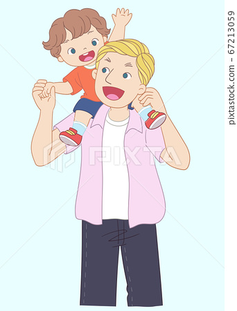 一個小孩坐在父親的肩膀上 67213059