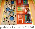 Girlfriends on climbing wall, entertainment center 67213246