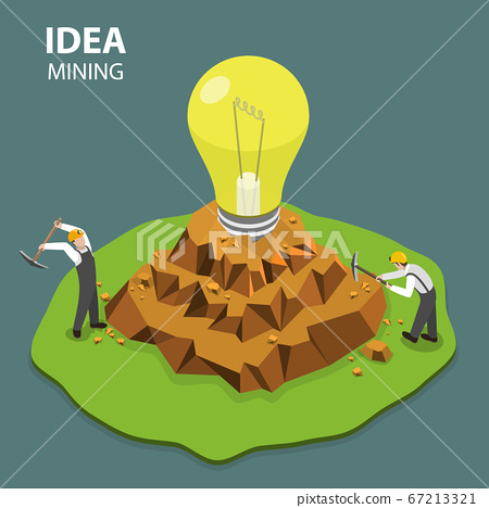 Idea mining flat isimetric vector illustration 67213321