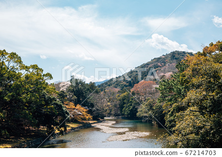 Isuzu River and mountain at spring in Ise, Mie, Japan 67214703