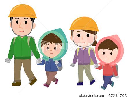 一家在災難中疏散家庭的防災罩的插圖 67214798