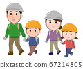 재해 대피하는 가족 헬멧 일러스트 67214805