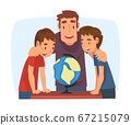 Father Teaching his Sons, Parent Helping Sons and Explaining Geography Lesson with Globe Cartoon Vector Illustration on White Background 67215079