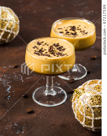 Frappe coffee glace in glasses. Christmas dessert 67217599