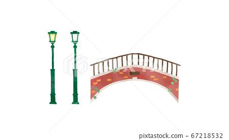 時尚的意大利橋樑和路燈的插圖 67218532