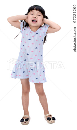 little girl close her ear with hand isolated 67221200