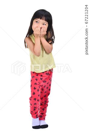 little girl gag her mount isolated on white 67221204