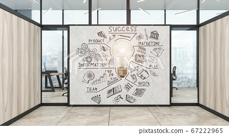 A modern office with creative business strategy sketch drawn on white wall 67222965