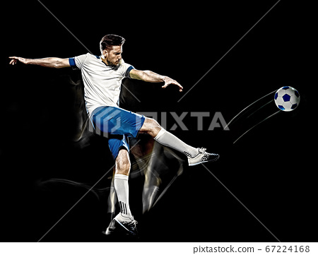 caucasian soccer player man isolated black background light painting 67224168