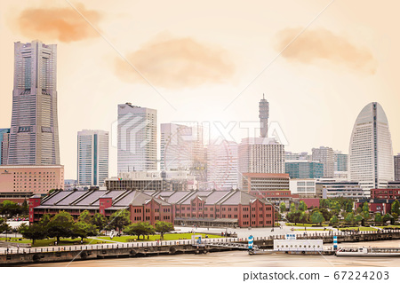 Yokohama Minatomirai scenery in the evening, anime style 67224203
