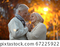 Portrait of beautiful happy senior couple holding hands 67225922