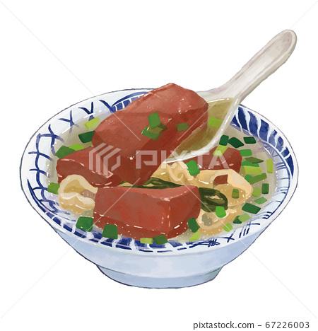 水彩風台灣美食豬血湯 67226003
