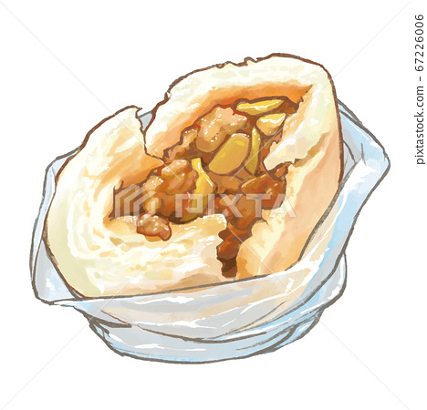 水彩風台灣美食竹筍肉包 67226006