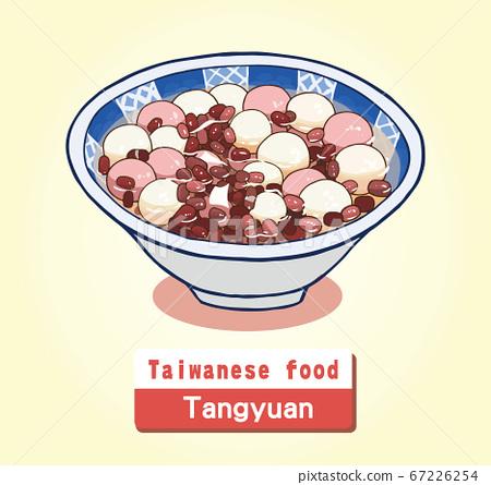 向量台灣美食紅豆湯圓 67226254