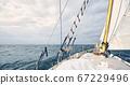 Panoramic view of an old schooner sailing the ocean. 67229496