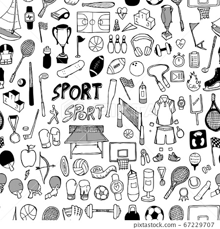 Sport doodle background seamless pattern. Drawing 67229707