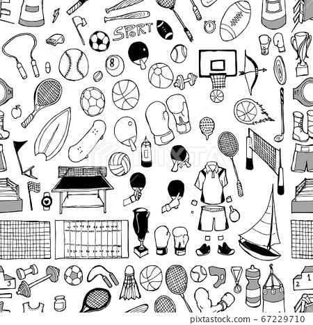 Sport doodle background seamless pattern. Drawing 67229710