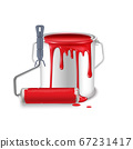 An open tin can with spilled red paint and a roller brush smeared in paint. 67231417