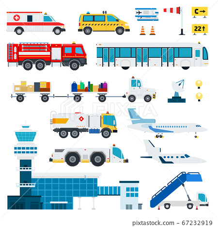 Airport transportation vector flat material design set. Fire engine, ambulance, ladder, passenger bus, automotive fuel, baggage car, tower control room, aircraft, satellite antenna isolated on white. 67232919