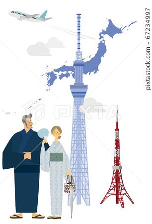 穿著浴衣的男人和女人在天空樹和東京鐵塔 67234997