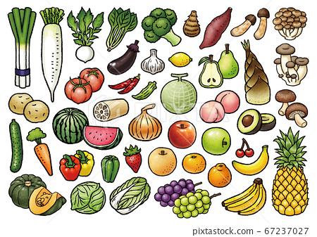 手繪蔬菜和水果矢量插圖集 67237027