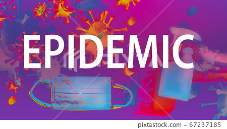 Epidemic theme with face mask and spray bottle 67237185