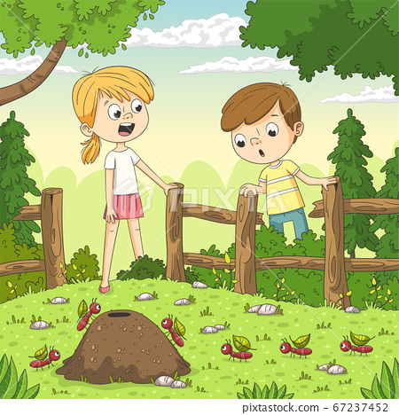 Two Children Watching Ants 67237452