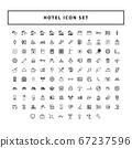 set of Hotel and travel black icons with outline 67237596