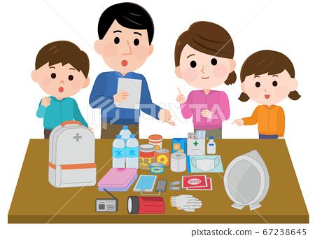 親子地震插圖檢查疏散背包的內容 67238645