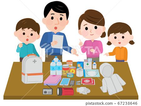 父母和孩子的洪水損壞插圖,檢查了疏散背包的內容 67238646