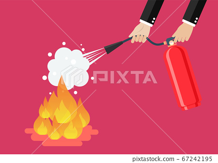 Businessman with fire extinguisher is fighting 67242195