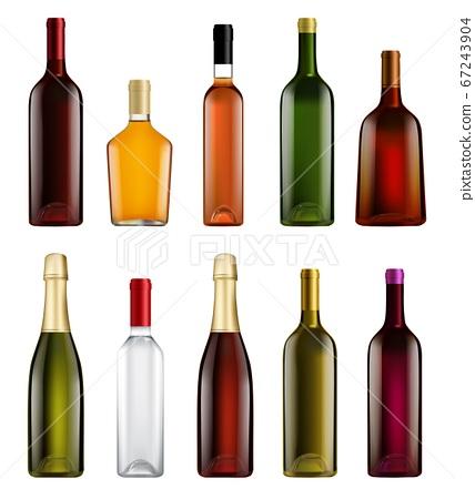 Realistic alcohol bottle isolated set on white 67243904