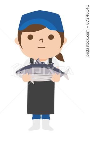 拿著魚skip的一位女性魚販子的例證。 67246141