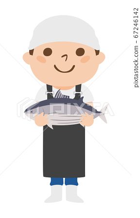 Illustration of a fish shop with a bonito with a smile. 67246142