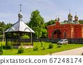 The belfry and the Makaryevskaya church on the territory of the Holy Vvedensky Makaryevsky Zhabyn Monastery, summer 67248174